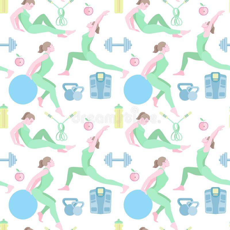 Seamless pattern with vector flat illustration. Women sports, yoga and physical exercises.3 stock photography