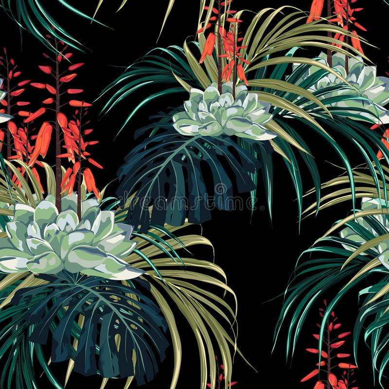 Seamless pattern vector floral watercolor style design: succulent in bloom with orange flowers and palm monstera leaves. Rustic black background print royalty free illustration
