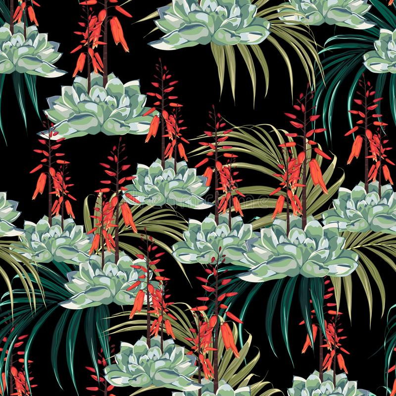 Seamless pattern vector floral watercolor style design: succulent in bloom with orange flowers and palms. Seamless pattern vector floral watercolor style design royalty free illustration