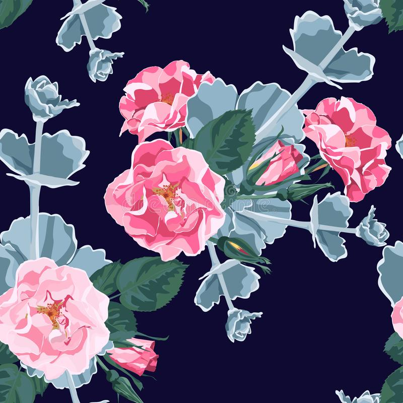 Seamless pattern vector floral watercolor style design: wild rose rosa canina dog rose garden flowers and succulent. royalty free illustration