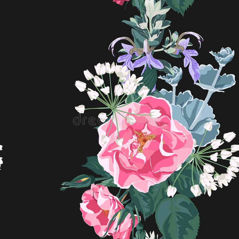 Seamless pattern vector floral watercolor style: wild rose rosa canina dog rose garden flowers and succulent, herbs royalty free illustration