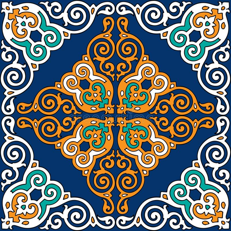 Seamless pattern. Vector with golden ornament on a blue background. Patterns are the soul of the people. Ornaments on furniture, i stock illustration