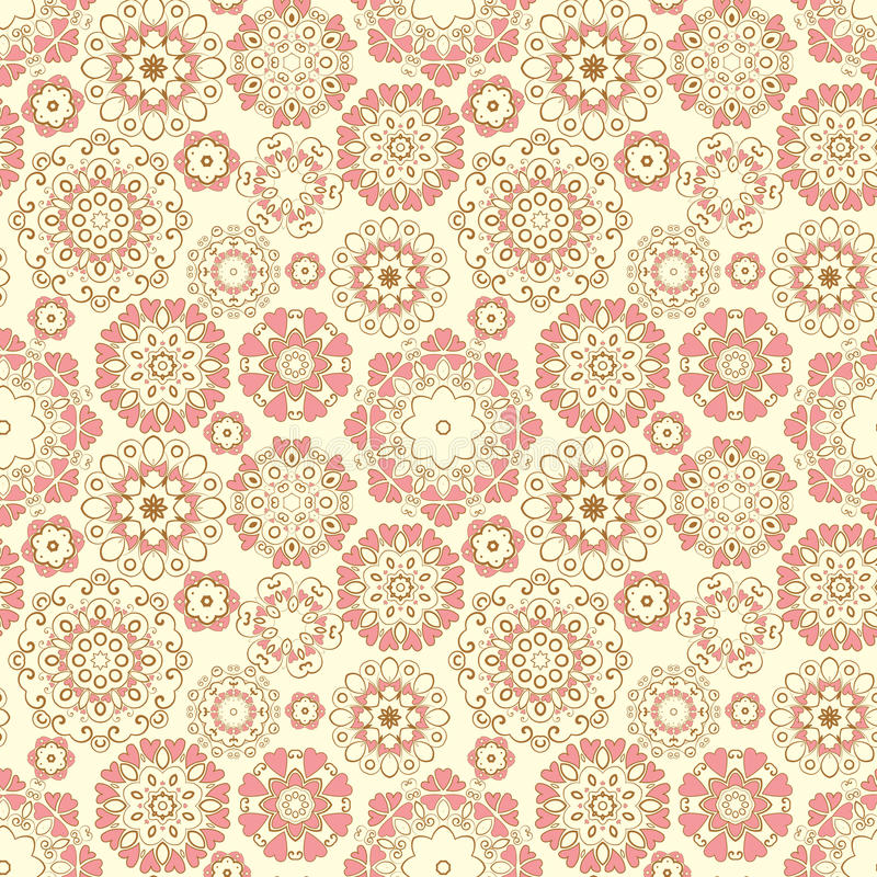 Seamless Pattern. Vector Seamless Pattern with ornaments and hearts stock illustration