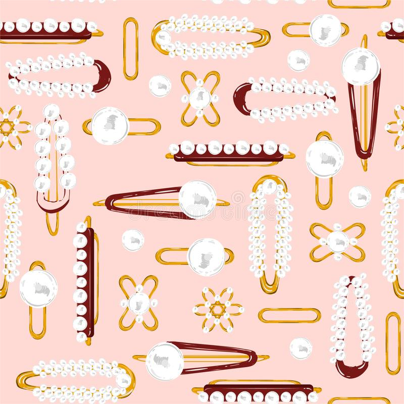 Seamless pattern vector. Set of hair accessory. Beautiful Vintage Hairpins and hair-clip in pearl and gold metal illustration. Design for fashion,fabric,web royalty free illustration