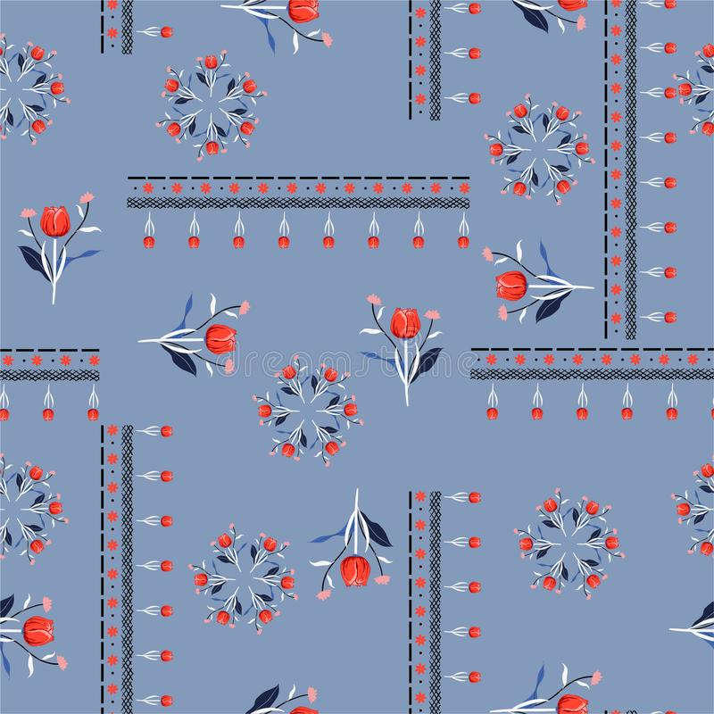 Seamless pattern vector Stylish red tulip flowers with line in bohemian scarf style design for fashion,fabric ,web,wallpaper and stock illustration