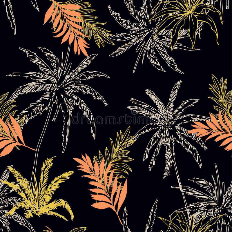 Seamless pattern vector Tropical jungle palm leaves, trees flor. Al pattern design for fashion ,fabric wallpaper and all prints on black background color royalty free illustration