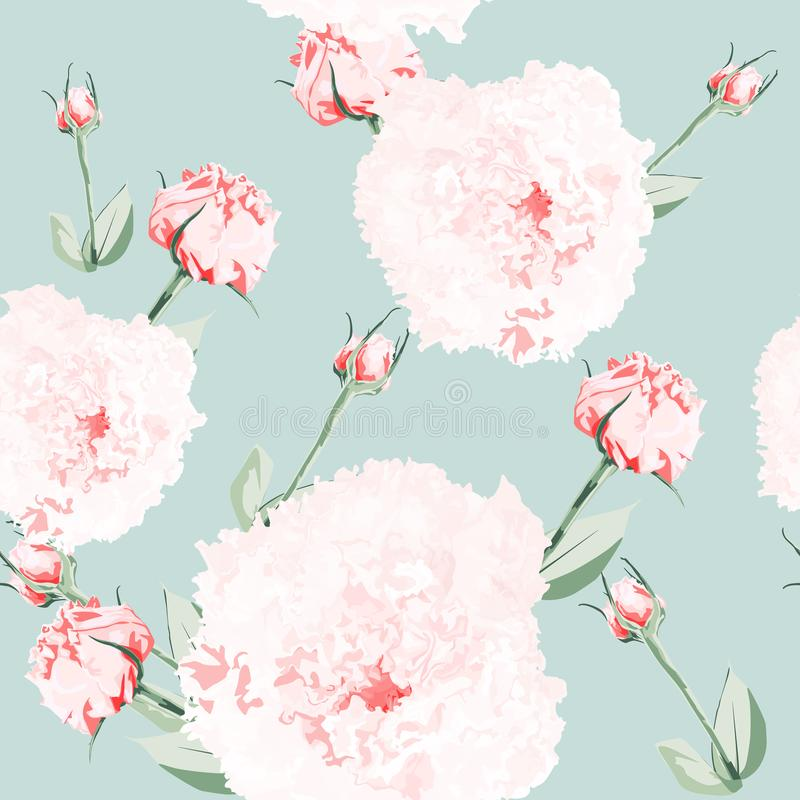 Seamless pattern of vector watercolor style pink eustoma. Illustration of flowers. Vintage. vector illustration