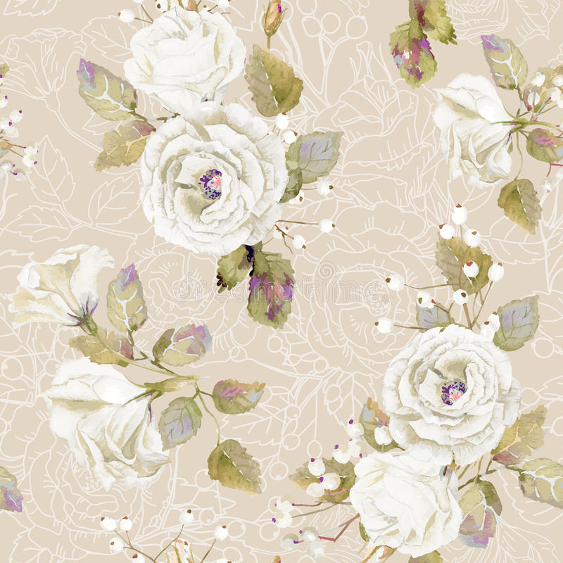 seamless pattern of vector watercolor white roses  stock vector