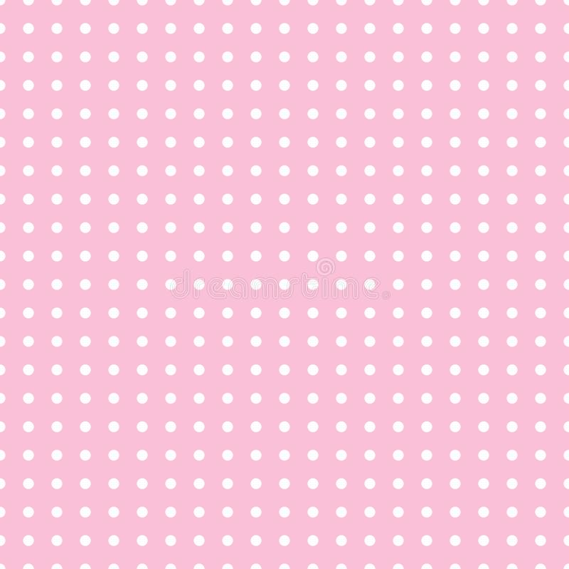 Seamless pattern vector with white polka dots on pink color background For desktop wallpaper, web design, cards, invitations, wedd vector illustration