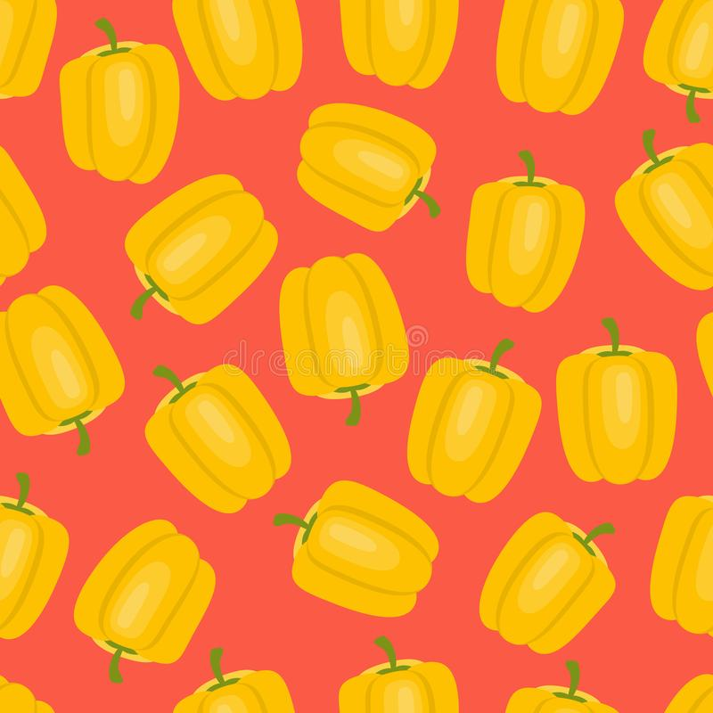 Vegetable print with yellow pepper on a red background. Seamless pattern with vegetables on a bright background. Yellow pepper on a red background. Vegetable stock illustration