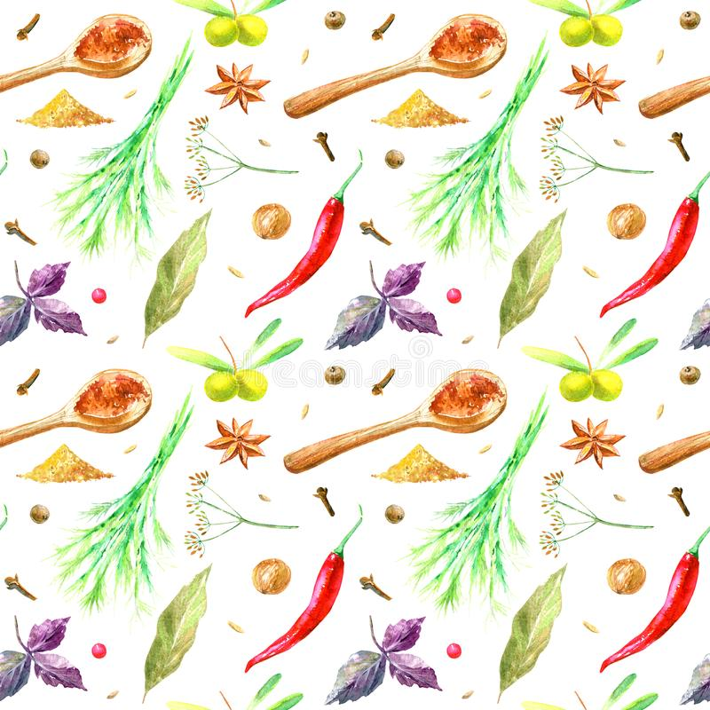Seamless pattern of a vegetables and spices. stock illustration
