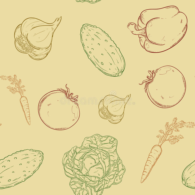 Seamless pattern with vegetables stock illustration