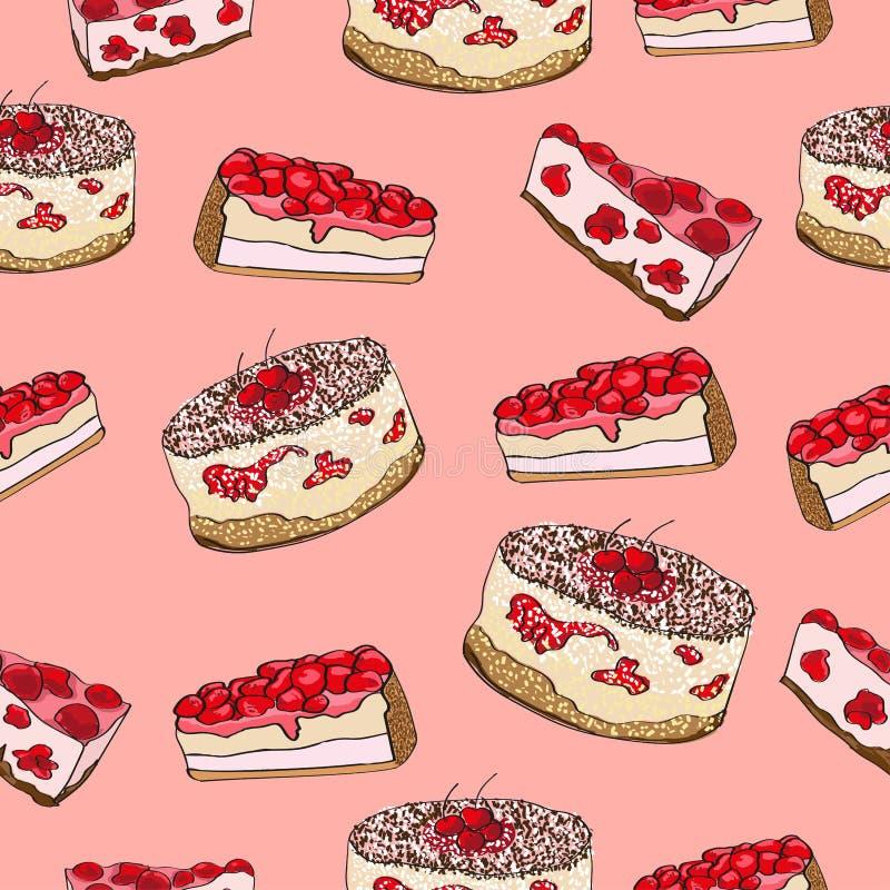 Seamless pattern vegetarian cake and servings of cake royalty free illustration