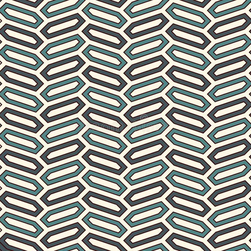 Seamless pattern with vertical braid ornament. Octagons tile background. Herringbone motif. Geometric wallpaper stock illustration