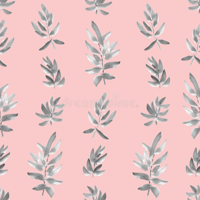 Seamless pattern vertical gray leaves on a pink background. Watercolor. Abstract composition of leaves. Watercolor. Image can be used in textiles, wallpaper stock illustration