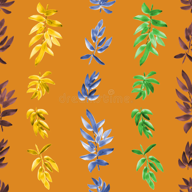 Seamless pattern vertical yellow, orange, burgundy green leaves on a orange background. Watercolor royalty free stock photography
