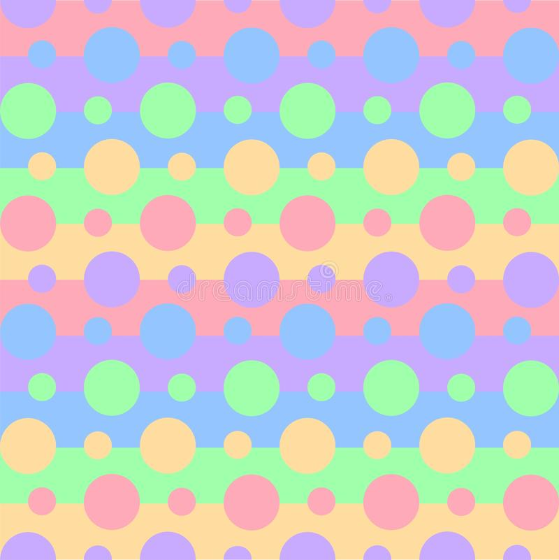 Seamless pattern of vibrant rainbow colors on stripes and circles. Wallpaper of baby pastel print for clothes, pajamas, notebooks. Or wrapping paper royalty free illustration