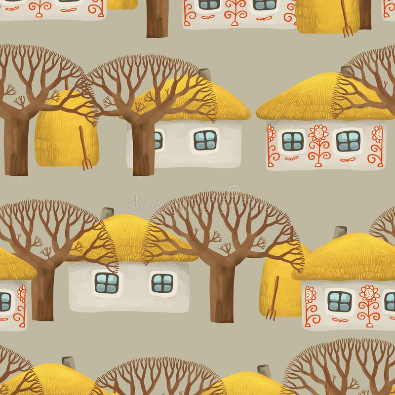Seamless pattern of villiage with small painted house, whitewashed house, bare trees and stacks of hay. Drawing hut in kids style vector illustration