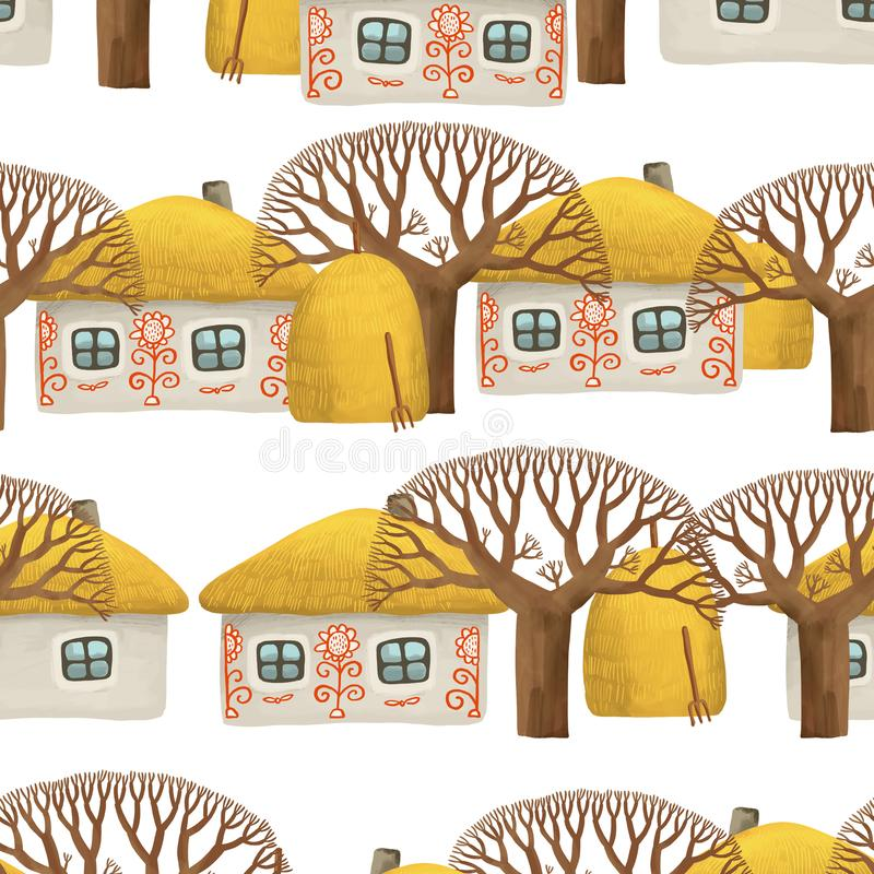 Seamless pattern of villiage with small painted house, whitewashed house, bare trees and stacks of hay. Drawing hut in kids style isolated on white background royalty free illustration