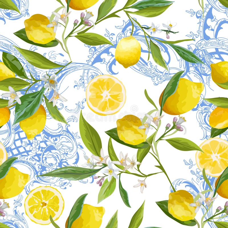 Seamless Pattern with vintage barocco design with yellow Lemon Fruits, Floral Background with Flowers, Leaves, Lemons Wallpaper vector illustration