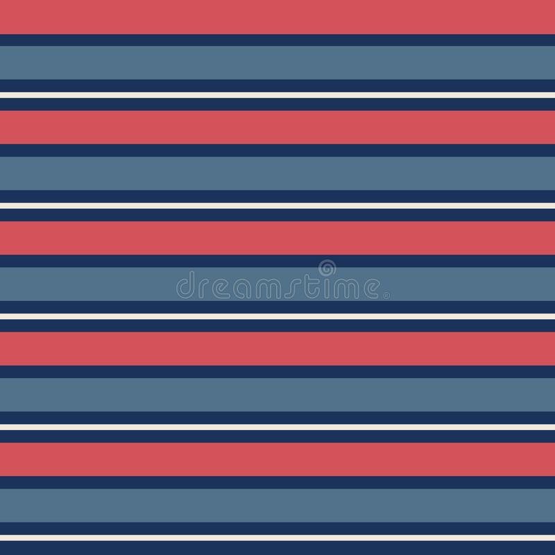 Seamless pattern with vintage blue and red horizontal stripes in repeat. vector illustration