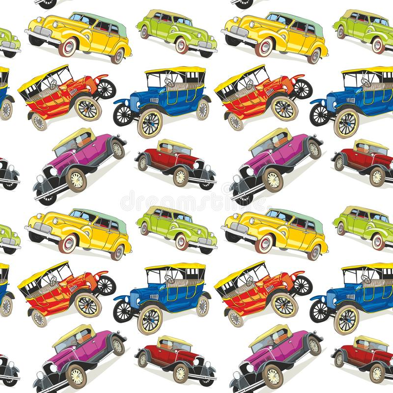 Seamless pattern vintage cars vector illustration