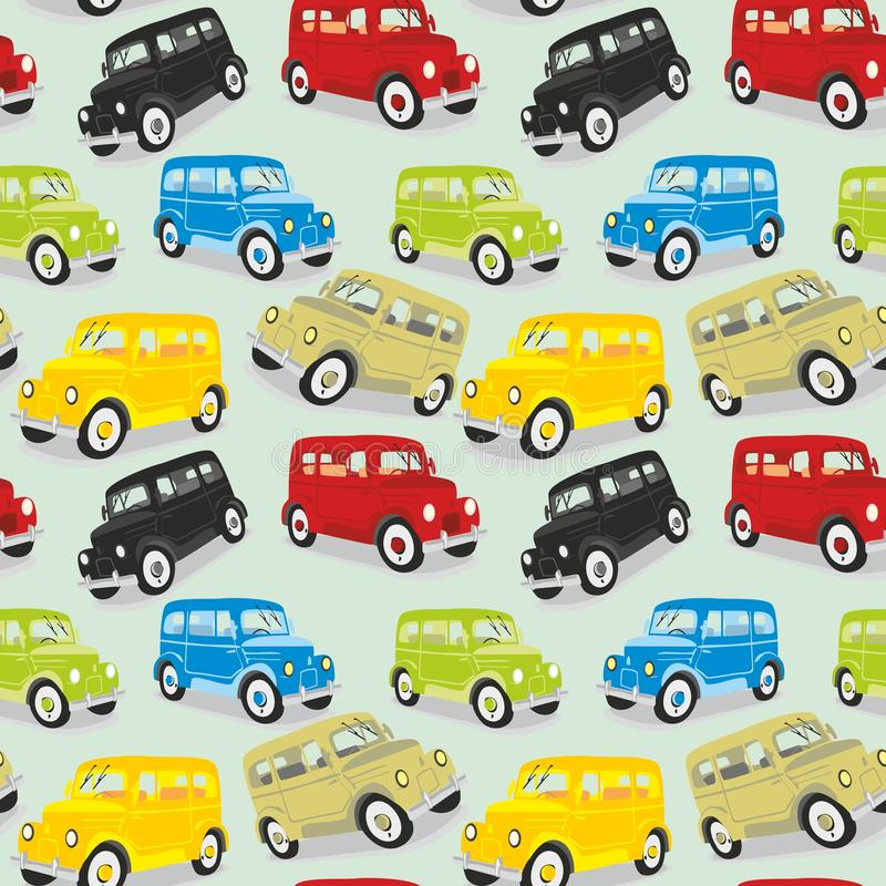 Seamless pattern vintage cars royalty free illustration