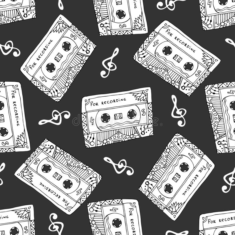 Seamless pattern with vintage cassettes. Black and white music print. Doodle musical texture stock illustration