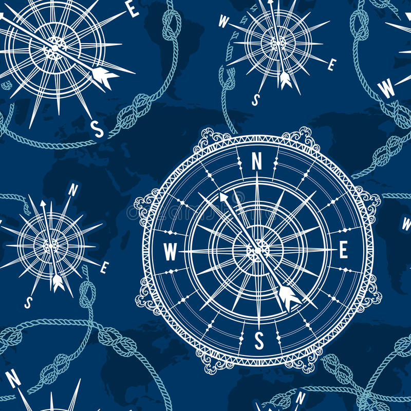 Seamless pattern with vintage compass, world map, wind rose and rope knot. Nautical background. stock photo