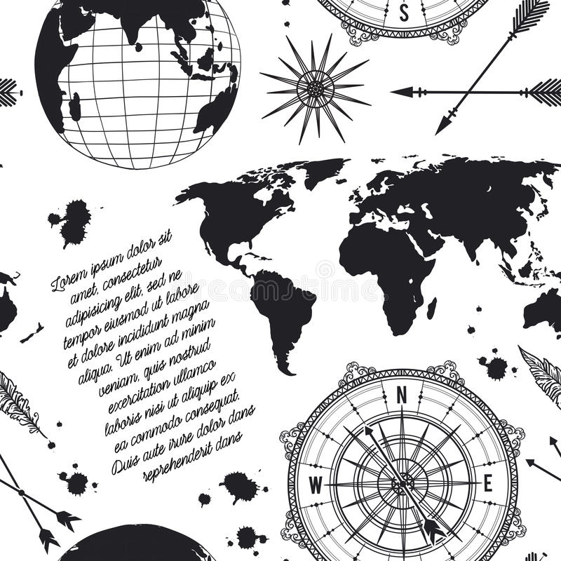 Seamless pattern with vintage globe compass world map and wind download seamless pattern with vintage globe compass world map and wind rose stock gumiabroncs Images
