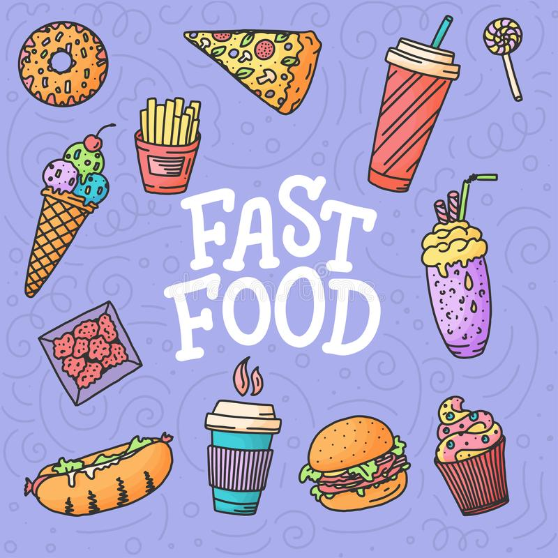 Seamless pattern. Vintage illustration with fast food doodle elements and lettering on background for concept design vector illustration