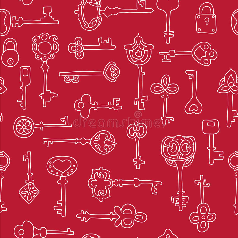 Seamless pattern with vintage keys stock illustration