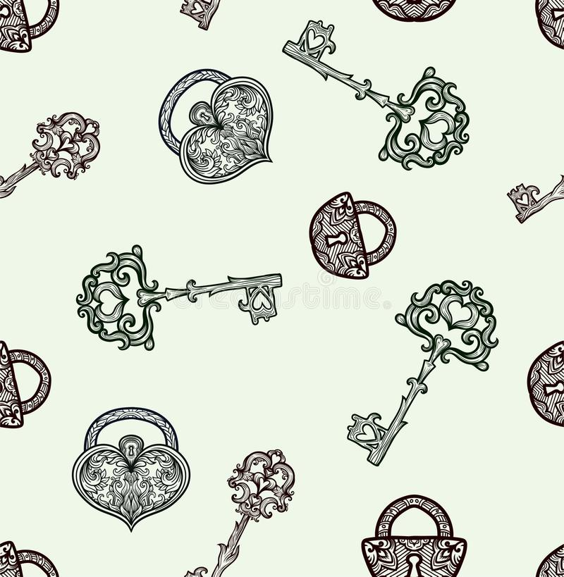 Seamless pattern with vintage keys. And locks. Vector hand drawn stock illustration