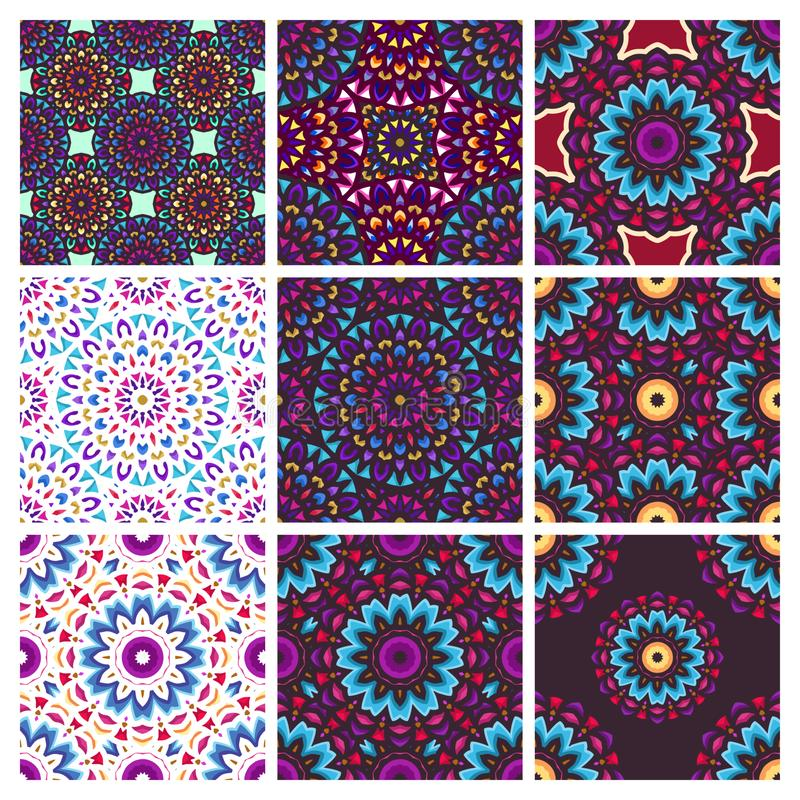 Seamless pattern with vintage mandala art with circular flower ornament vector illustration