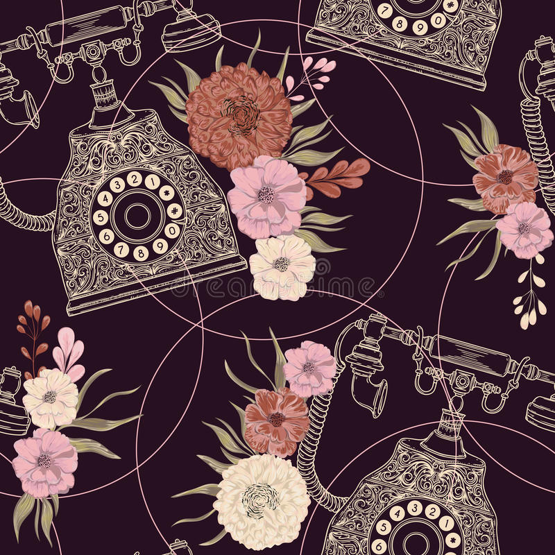 Seamless pattern with vintage phone and floral elements in watercolor style. stock illustration