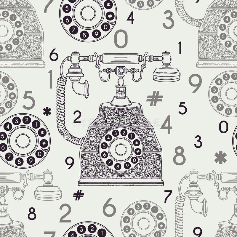 Seamless pattern with vintage phone and numbers. vector illustration
