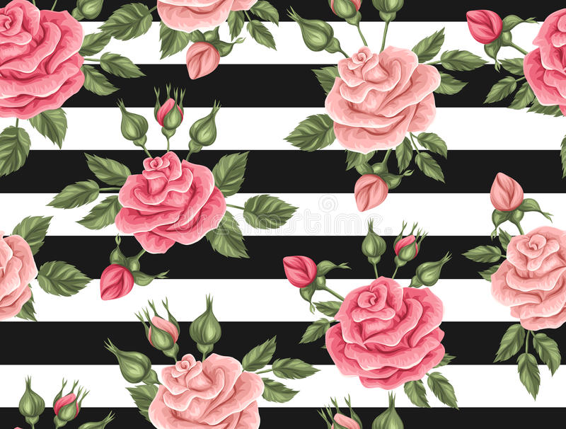 Seamless pattern with vintage roses. Decorative retro flowers royalty free illustration