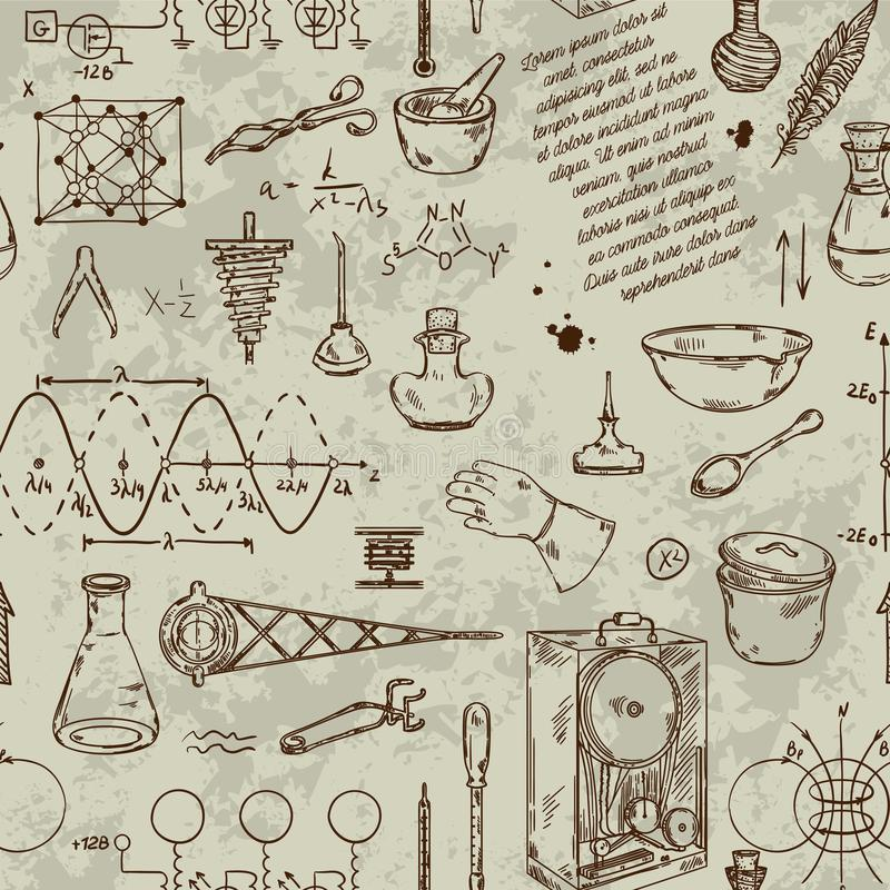 Download Seamless Pattern With Vintage Science Objects. Scientific Equipment For Physics And Chemistry. Stock Vector - Illustration of machine, background: 108103090