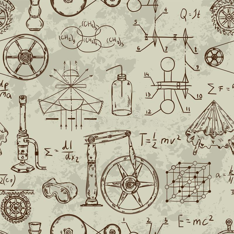 Seamless pattern with vintage science objects. Scientific equipment for physics and chemistry. royalty free illustration