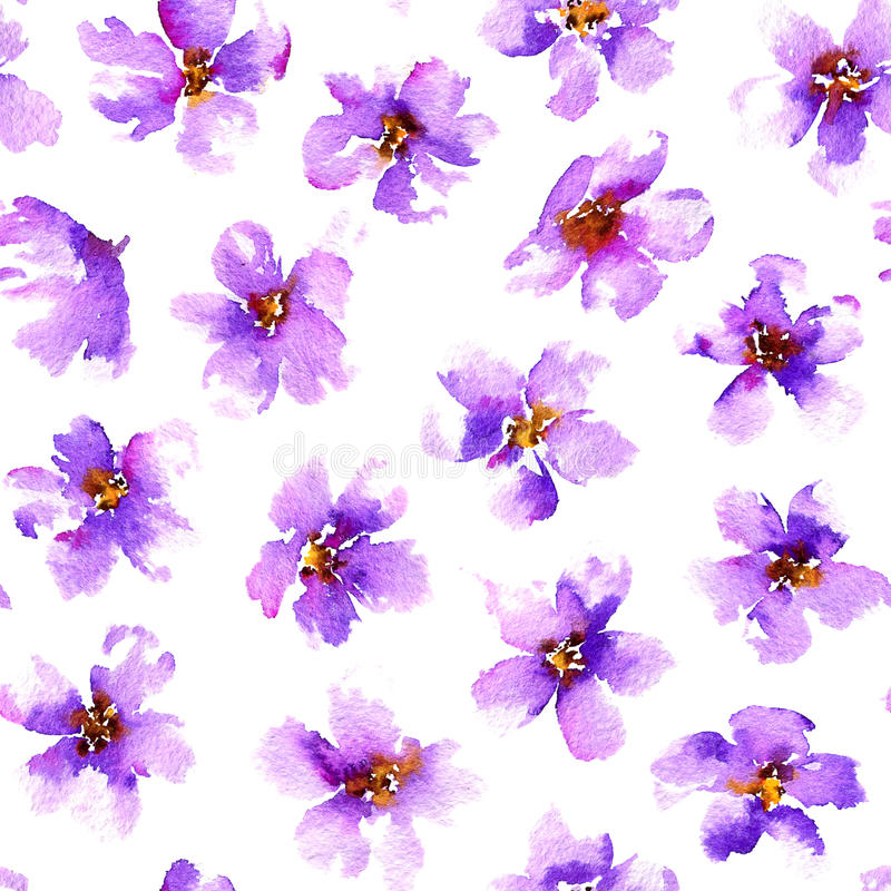 Seamless pattern with violet flowers. Watercolor hand painted illustration. royalty free illustration