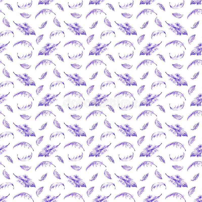 Seamless pattern with violet hand drawn feathers on white background. Seamless texture with feathers in ethnic boho royalty free illustration
