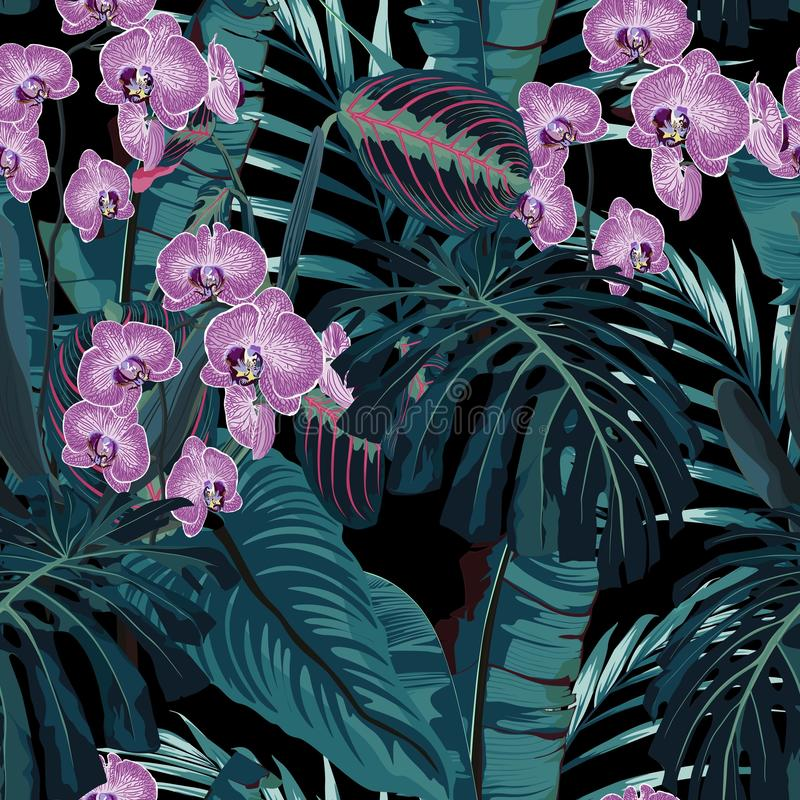 Seamless pattern, violet orchid flower and green blue exotic palm monster leaves on dark background. stock illustration