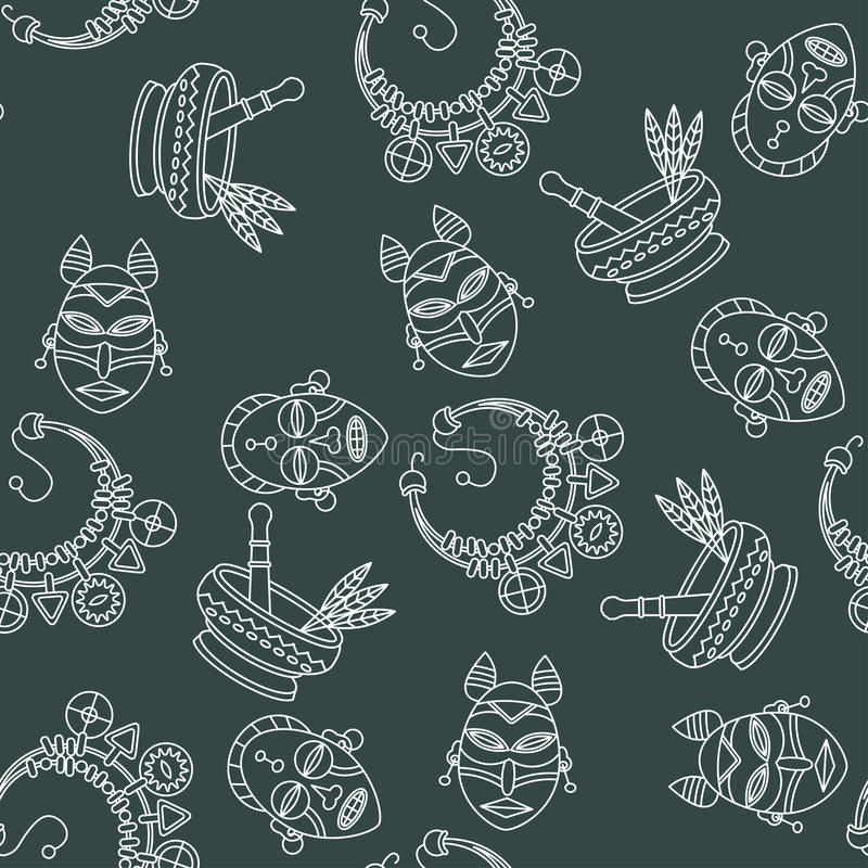 Seamless Pattern With Voodoo Symbols Stock Vector Illustration Of