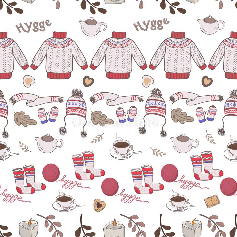 Seamless pattern with a warm knitted sweater, socks, a ball of thread in the Scandinavian style. Hygge vector illustration