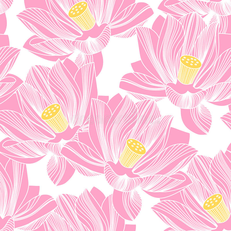 Seamless pattern with water lilies. Lotus background. stock image