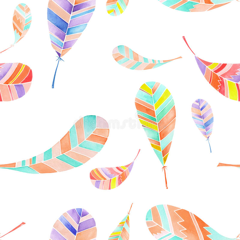 Seamless pattern of watercolor abstract feathers royalty free illustration