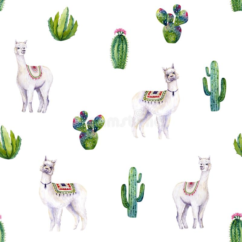 Seamless pattern of watercolor alpacas and cacti. Colorful illustration isolated on white. Hand painted animals. Perfect for kids wallpaper, interior design royalty free illustration