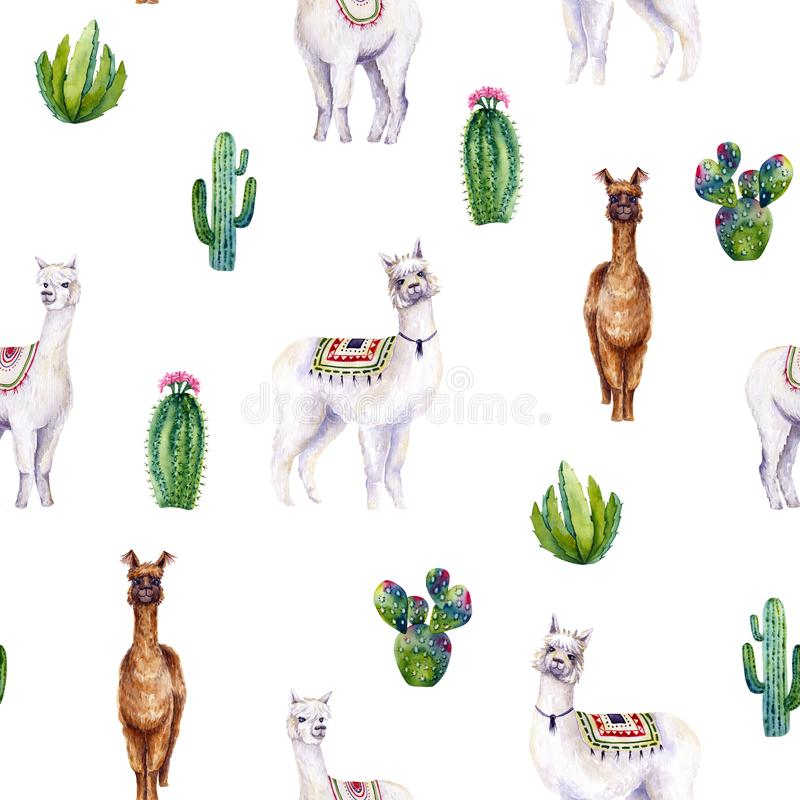 Seamless pattern of watercolor alpacas and cacti. Colorful illustration isolated on white. Hand painted animals. Perfect for kids wallpaper, interior design stock illustration