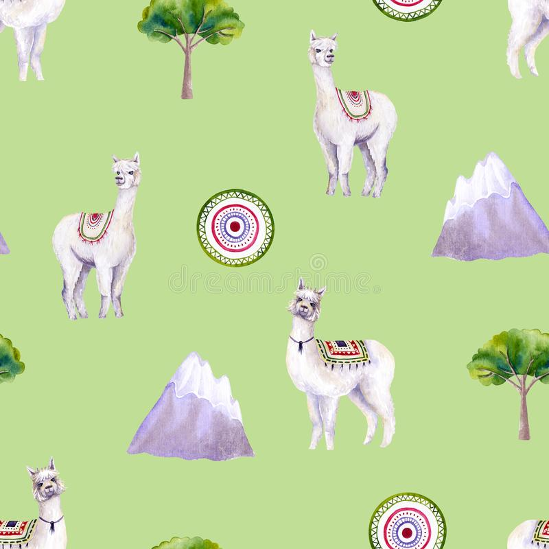 Seamless pattern of watercolor alpacas, mountains, tree, mat. Colorful illustration isolated on green. Hand painted animals. Perfect for kids wallpaper, design stock illustration