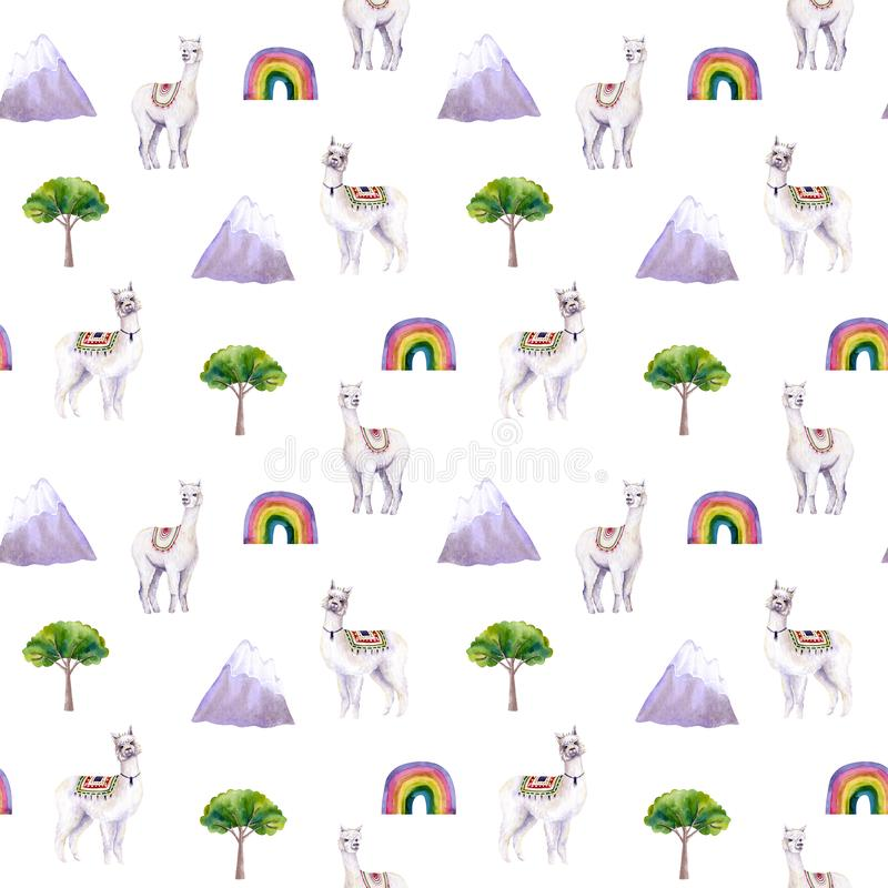 Seamless pattern of watercolor alpacas, mountains, tree, rainbow. Colorful illustration isolated on white. Hand painted. Animal perfect for kids wallpaper vector illustration